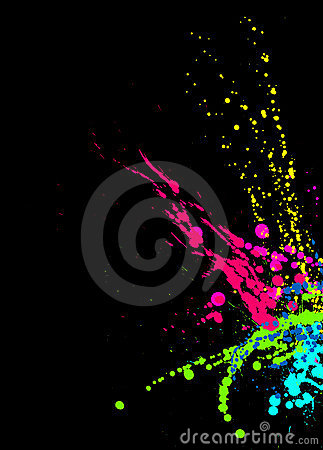 Bright Paint Splashes on Black Background