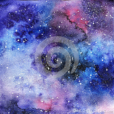 Bright painted watercolor space texture. Hand drawn background with text place Stock Photo