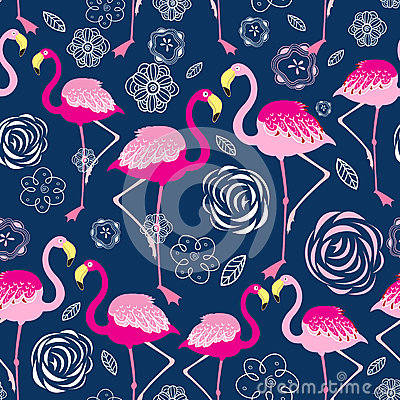Free Bright Pattern Flamingos Royalty Free Stock Image - 78701356