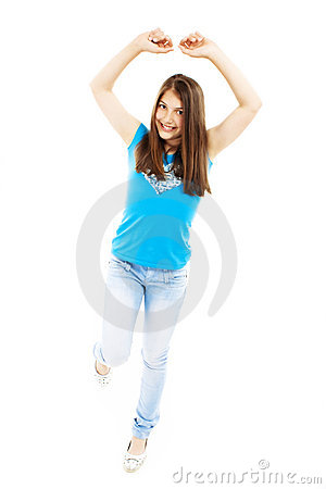 Bright picture of happy and carefree teenage girl