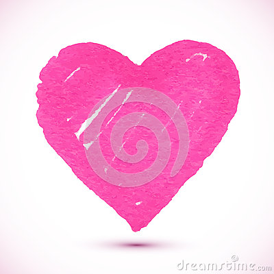 Bright pink marker textured vector heart