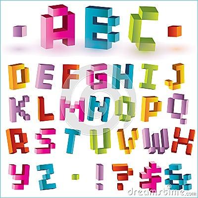 Bright pixel alphabet