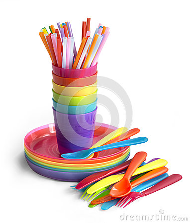 Free Bright Plastic Tableware Royalty Free Stock Photography - 79325377