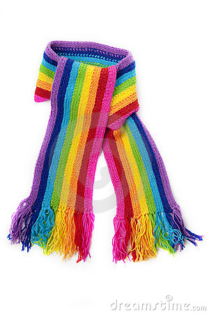 Free Bright Rainbow Knitted Scarf Royalty Free Stock Images - 13879279
