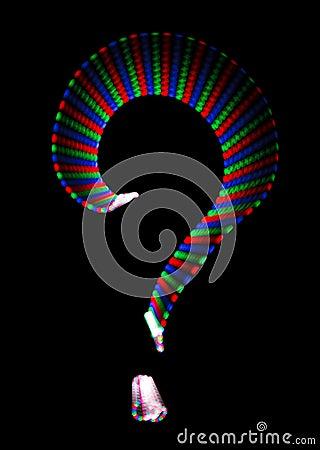 Bright rainbow symbol question mark on black