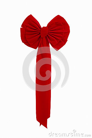 Bright Red Christmas Ribbon Isolated Against White