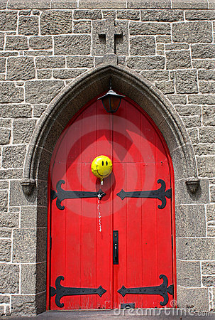 Free Bright Red Church Door With Happy Balloon Stock Photography - 19854452