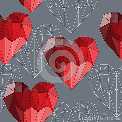 Free Bright Red Colored Geometric Abstract Polygonal Hearts Seamless Pattern Background For Use In Design For Valentines Day Or Wedding Royalty Free Stock Photography - 48600287
