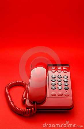 Bright red desktop telephone