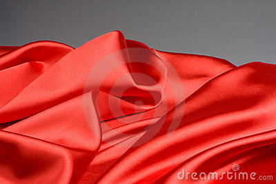 Bright red fabric waves