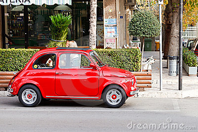 Bright Red Fiat 500 Editorial Stock Image