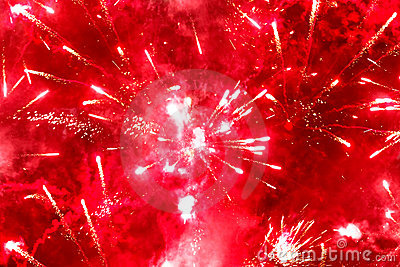 Bright red firework