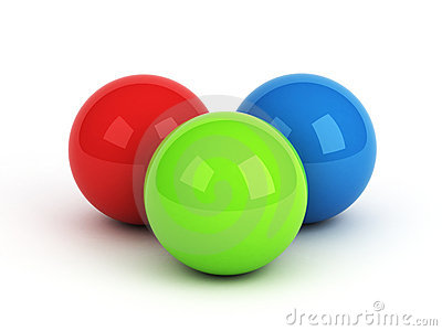 Bright red green blue spheres