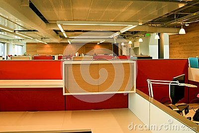 Bright red office cubes