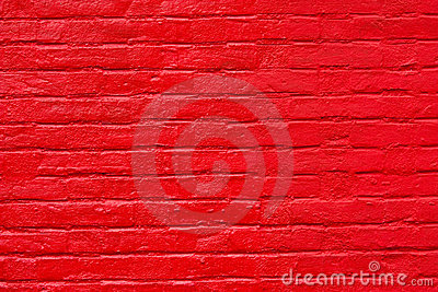 Bright red painted brick wall