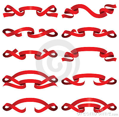 Bright red ribbons