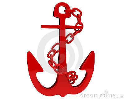 Bright red shipboard anchor with nice reflections