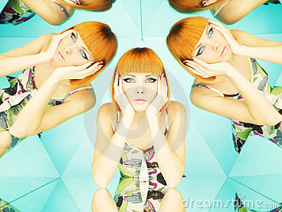 Bright redhead woman in kaleidoscope