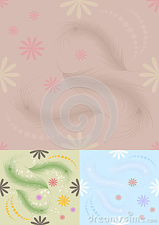 Bright  seamless background with feathers and flow