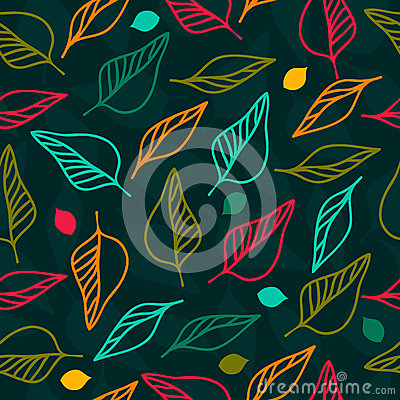 Bright seamless floral pattern with leaves