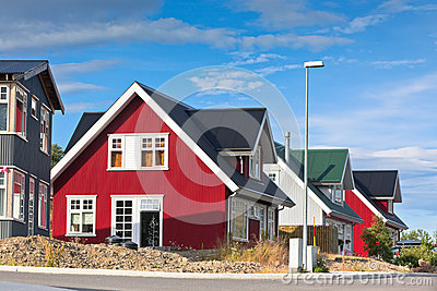 Bright Siding Houses in Small Iceland Town