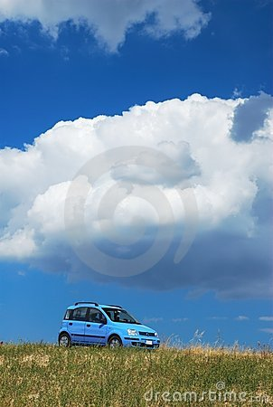 Bright sky blue modern car