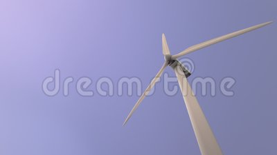 Bright sky and windmill. Looking on wind turbine from below against bright sky background, loopable stock footage