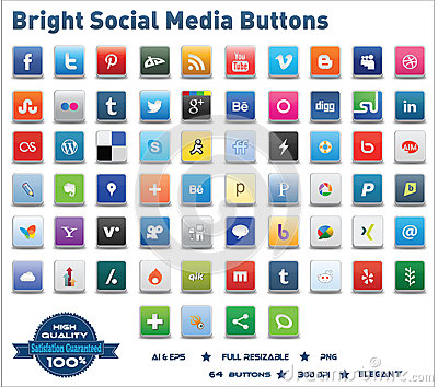 Bright Social Media Buttons Editorial Photo