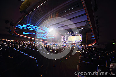 Bright spotlight and stage at concert Editorial Stock Photo