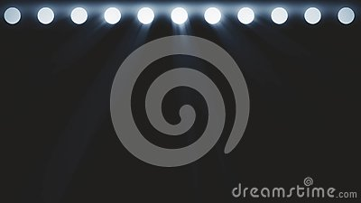 Bright stage lights flashing. Free stage with lights. Stage lighting background. Concert light. Stage Spotlight with Stock Photo