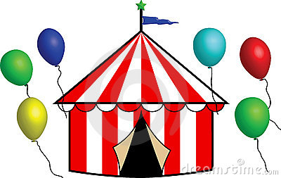 Bright Striped Circus Tent with Balloons