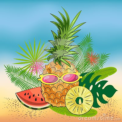 Bright summer still life of fruits on the beach: pineapple, slices of juicy watermelon, pineapple slices, glasses Vector Illustration