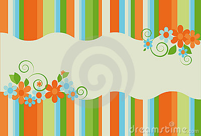 Bright summer striped background with flowers