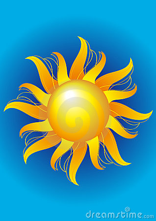 Bright sun on a blue background