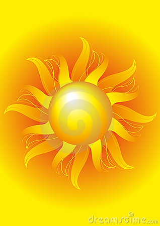Bright sun on a yellow background