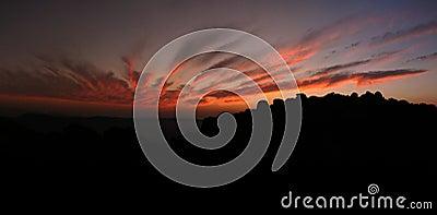 Bright sunset over rocks