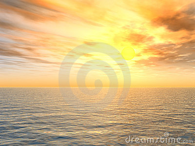 Bright Sunset Over Sea