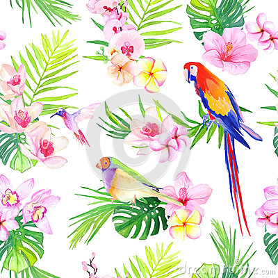 Free Bright Tropical Leaves With Flowers Seamless Vector Print Stock Image - 56954381