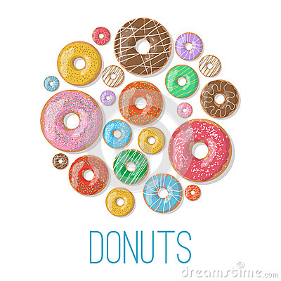 Free Bright Vector Banners With Donuts Illustration Isolated On The White Background. Doughnut Banner In Cartoon Style Stock Photos - 69814753