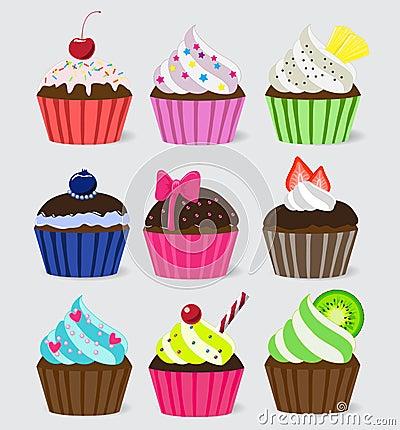 Bright Vector cupcakes