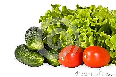 Bright vegetables, salad, tomato, cucumber