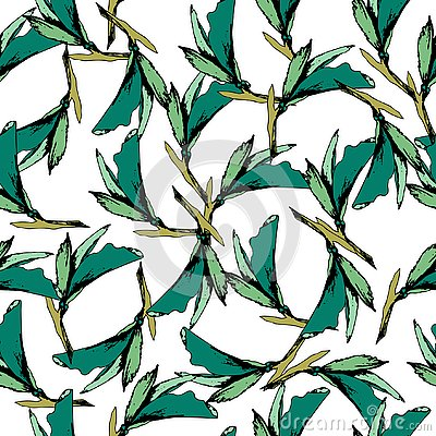 Bright vintage background of green leaves. Drawn contours on a white background. Sketch. Endless texture for your design, tile and Vector Illustration