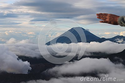 Bright weather in the morning on Mount Bromo Stock Photo