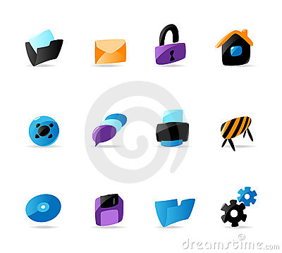 Bright website and interface icons