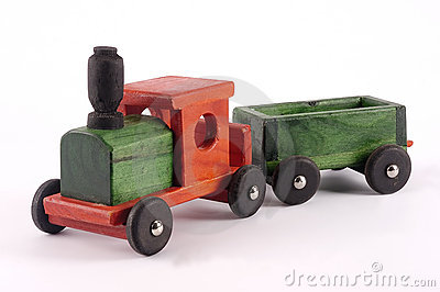 A bright wooden toy train
