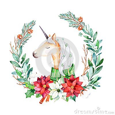 Free Bright Wreath With Leaves,branches,fir-tree,cotton Flowers, Poinsettia And Cute Unicorn With Winter Scarf Royalty Free Stock Images - 103502339