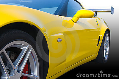 Bright yellow American racing car