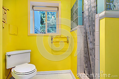 Bright yellow bathroom interior