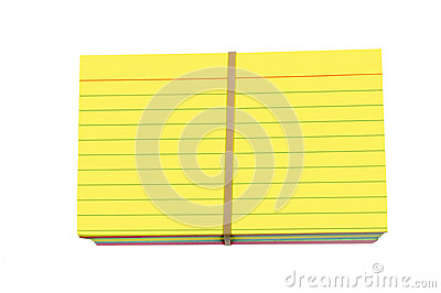 Bright Yellow Colored Stack Index Cards Wrapped With Rubber Band