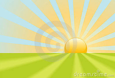 Bright yellow sunrise rays shine on earth scene